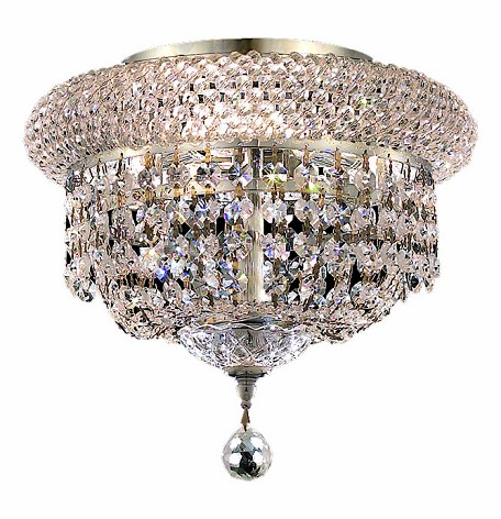 "Primo Collection 3-Light 10"" Chrome Flush Mount with Clear Elegant Cut Crystal 1803F10C/EC"