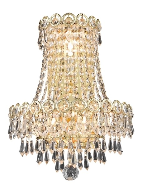 "Century Collection 3-Light 12"" Gold Wall Sconce with Clear Swarovski Spectra Crystal 1902W12SG/SA"
