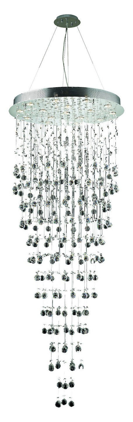"Galaxy Collection 16-Light 30"" Chrome Chandelier with Clear Elegant Cut Crystal 2006G30C/EC"