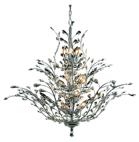 "Orchid Collection 18-Light 41"" Chrome Chandelier with Clear Elegant Cut Crystal 2011G41C/EC"