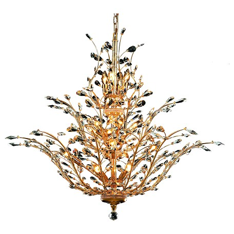 "Orchid Collection 18-Light 41"" Gold Chandelier with Clear Elegant Cut Crystal 2011G41G/EC"