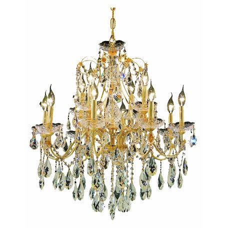 "St. Francis Collection 12-Light 28"" Gold Chandelier with Clear Elegant Cut Crystal 2016D28G/EC"