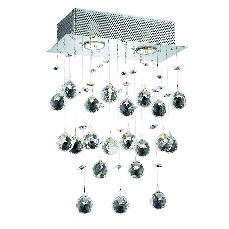 "Galaxy Collection 2-Light 12"" Chrome Wall Sconce with Clear Elegant Cut Crystal 2021W12C/EC"