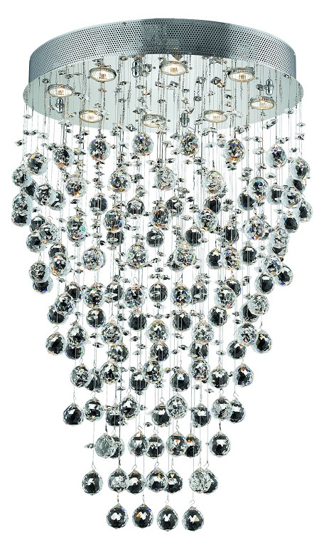 "Galaxy Collection 8-Light 16"" Chrome Flush Mount with Clear Swarovski Spectra Crystal 2022D24C/SA"