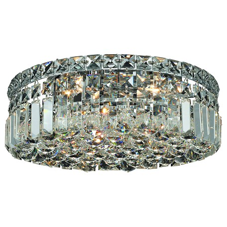 "Maxim Collection 4-Light 14"" Chrome Flush Mount with Clear Swarovski Spectra Crystal 2030F14C/SA"