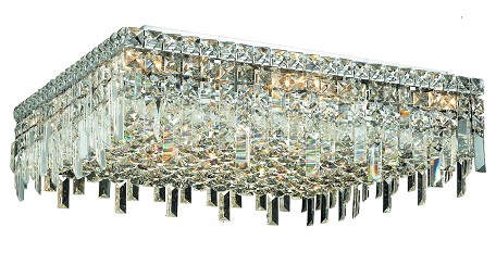 "Maxim Collection 13-Light 24"" Chrome Flush Mount with Clear  Swarovski Strass Crystal 2033F24C/SS"