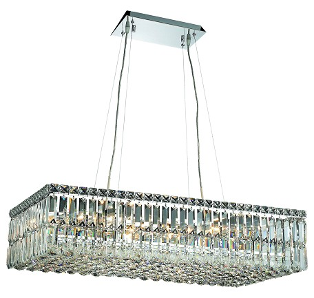 "Maxim Collection 16-Light 16"" Chrome Island Light with Clear Elegant Cut Crystal 2034D32C/EC"