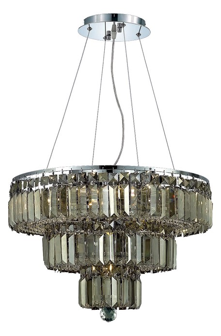 "Maxim Collection 9-Light 20"" Chrome Chandelier with Golden Teak Smoky Swarovski Strass Crystal 2036D20C-GT/SS"