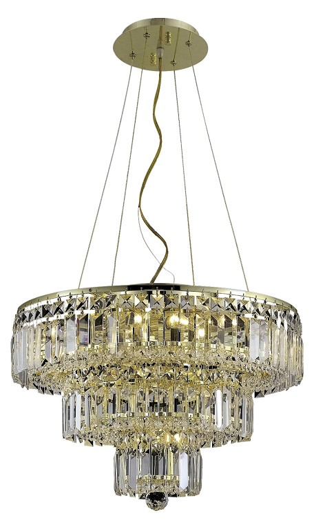 "Maxim Collection 9-Light 20"" Gold Chandelier with Clear Elegant Cut Crystal 2036D20G/EC"