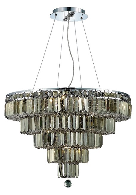 "Maxim Collection 14-Light 26"" Chrome Chandelier with Golden Teak Smoky Swarovski Strass Crystal 2036D26C-GT/SS"