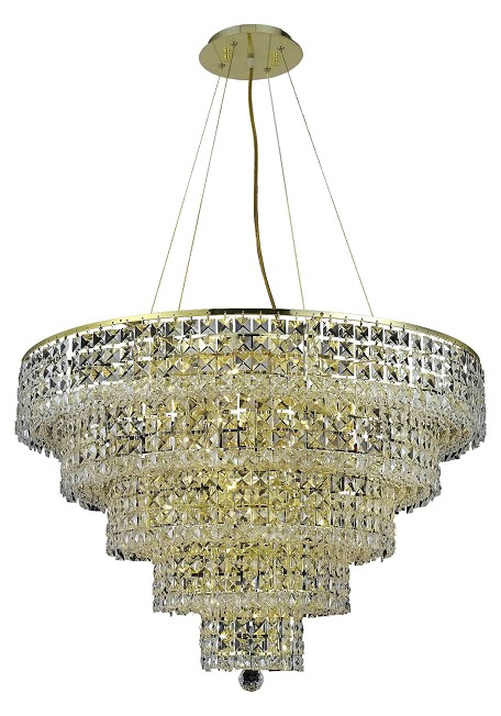 "Maxim Collection 17-Light 30"" Gold Pendant with Clear Elegant Cut Crystal 2037D30G/EC"