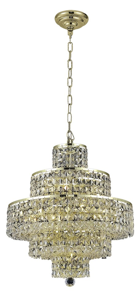 "Maxim Collection 13-Light 20"" Gold Chandelier with Clear Swarovski Spectra Crystal 2039D20G/SA"
