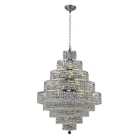 "Maxim Collection 20-Light 30"" Chrome Chandelier with Clear  Swarovski Strass Crystal 2039D30C/SS"