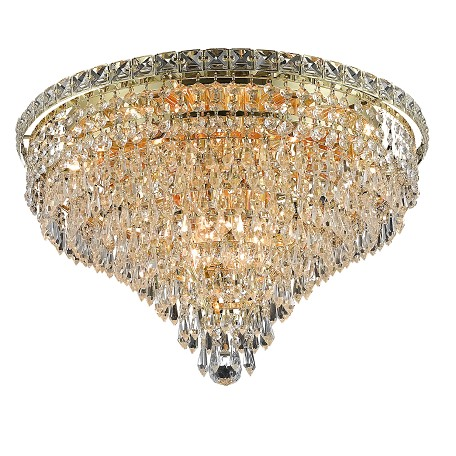 "Tranquil Collection 10-Light 20"" Gold Flush Mount with Clear Elegant Cut Crystal 2526F20G/EC"