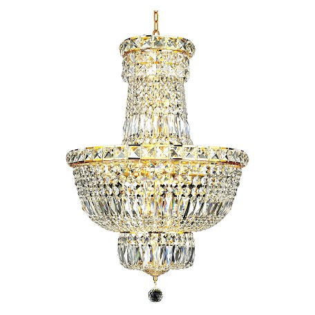 "Tranquil Collection 12-Light 18"" Gold Chandelier with Clear Swarovski Spectra Crystal 2528D18G/SA"