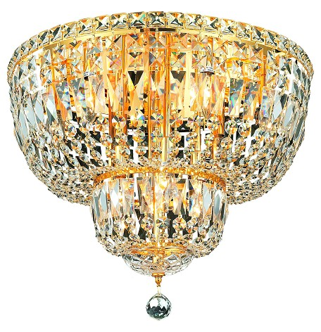 "Tranquil Collection 10-Light 20"" Gold Flush Mount with Clear  Swarovski Strass Crystal 2528F20G/SS"
