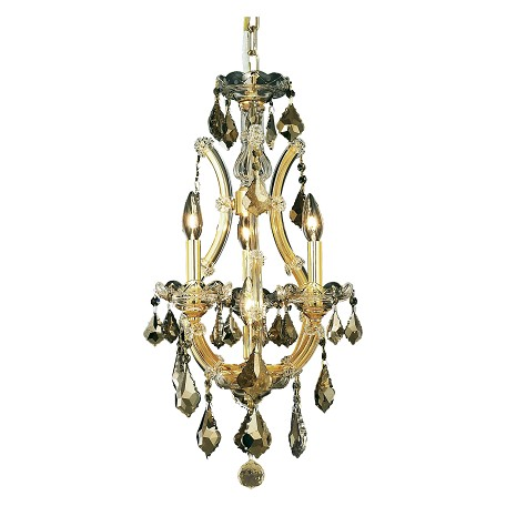 "Maria Theresa Collection 4-Light 12"" Gold Mini Chandelier with Golden Teak Smoky Swarovski Strass Crystal 2800D12G-GT/SS"