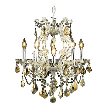 "Maria Theresa Collection 6-Light 20"" Chrome Chandelier with Golden Teak Smoky Swarovski Strass Crystal 2800D20C-GT/SS"