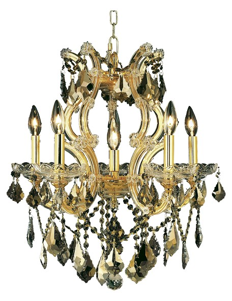 "Maria Theresa Collection 6-Light 20"" Gold Chandelier with Golden Teak Smoky Swarovski Strass Crystal 2800D20G-GT/SS"