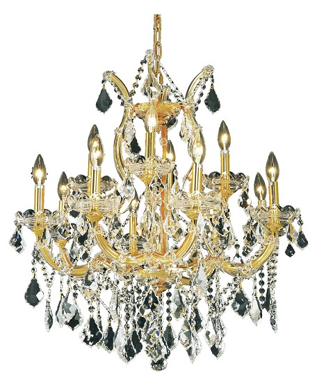 "Maria Theresa Collection 13-Light 27"" Gold Chandelier with Clear Elegant Cut Crystal 2800D27G/EC"