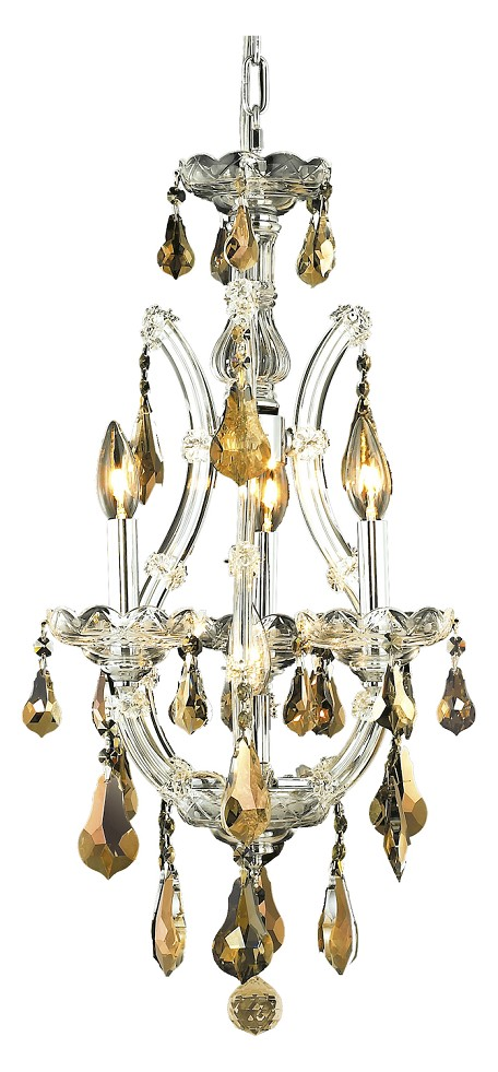 "Maria Theresa Collection 4-Light 12"" Chrome Mini Chandelier with Golden Teak Smoky Swarovski Strass Crystal 2801D12C-GT/SS"
