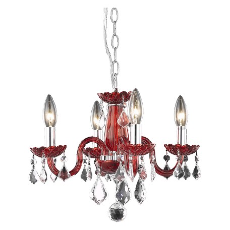 "Rococo Collection 4-Light 15"" Bordeaux Red Glass Mini Chandelier with Crystal 7804D15RD/RC"