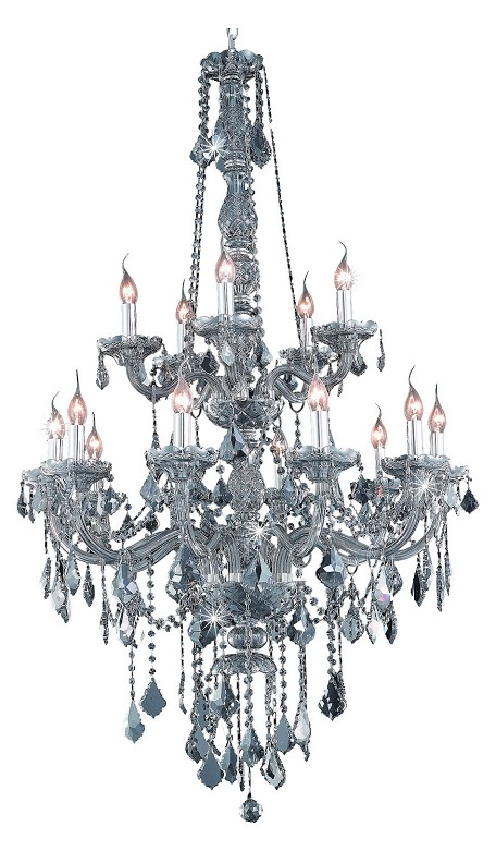 "Verona Collection 15-Light 33"" Gray Chandelier with Silver Shade Grey Swarovski Strass Crystal 7815G33SS-SS/SS"