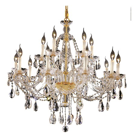 "Alexandria Collection 15-Light 35"" Gold Chandelier with Clear Swarovski Spectra Crystal 7829G35G/SA"