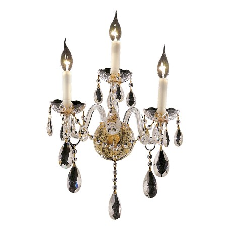 "Alexandria Collection 3-Light 13"" Gold Wall Sconce with Clear Elegant Cut Crystal 7829W3G/EC"