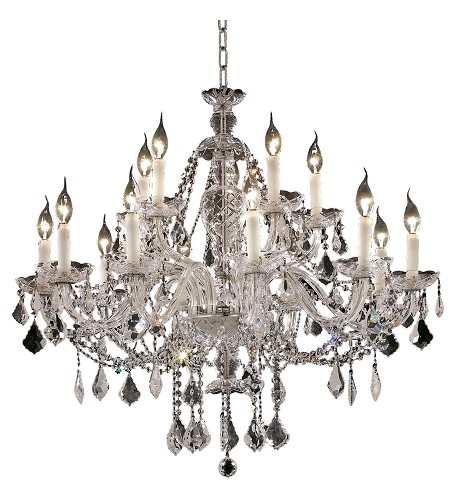 "Alexandria Collection 15-Light 35"" Chrome Chandelier with Clear  Swarovski Strass Crystal 7831G35C/SS"