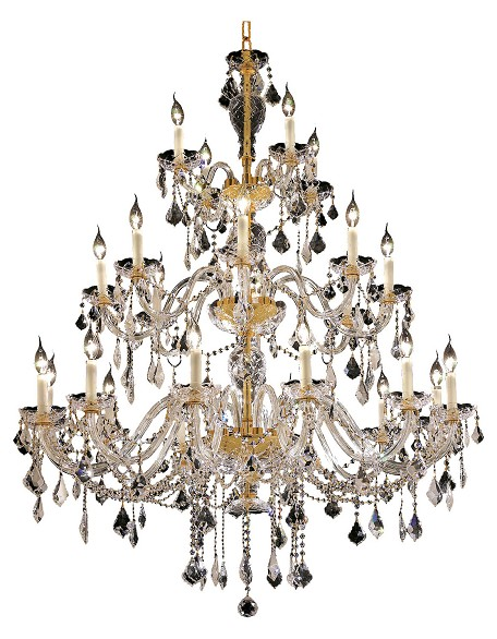 Elegant Cut Clear Crystal Alexandria 24-Light, Three-Tier Crystal Chandelier, Finished in Gold with Clear Crystals