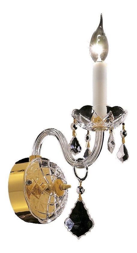 "Alexandria Collection 1-Light 8"" Gold Wall Sconce with Clear Swarovski Spectra Crystal 7831W1G/SA"