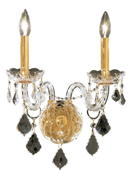 "Alexandria Collection 2-Light 13"" Gold Wall Sconce with Clear  Swarovski Strass Crystal 7831W2G/SS"