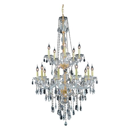 "Verona Collection 15-Light 33"" Gold Chandelier with Clear Elegant Cut Crystal 7915G33G/EC"