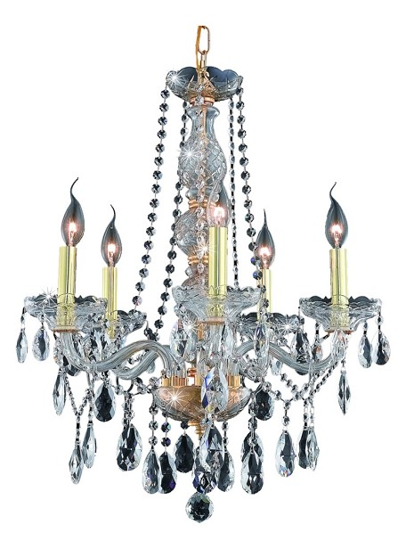 "Verona Collection 5-Light 21"" Gold Chandelier with Clear Elegant Cut Crystal 7955D21G/EC"