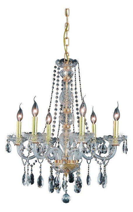 "Verona Collection 6-Light 24"" Gold Chandelier with Clear Elegant Cut Crystal 7956D24G/EC"
