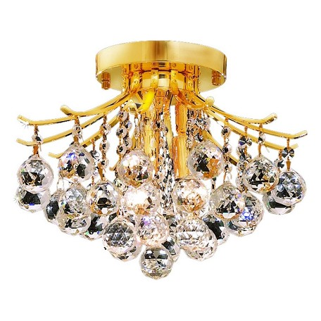 "Toureg Collection 3-Light 12"" Gold Semi Flush Mount with Clear  Swarovski Strass Crystal 8000F12G/SS"