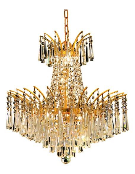 "Victoria Collection 8-Light 19"" Gold Chandelier with Clear  Swarovski Strass Crystal 8032D19G/SS"