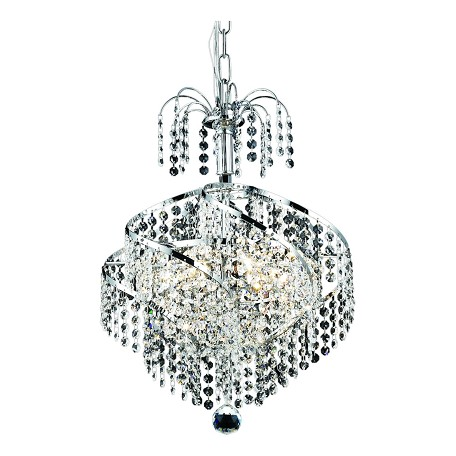 "Spiral Collection 3-Light 14"" Chrome Mini Chandelier with Clear Elegant Cut Crystal 8052D14C/EC"