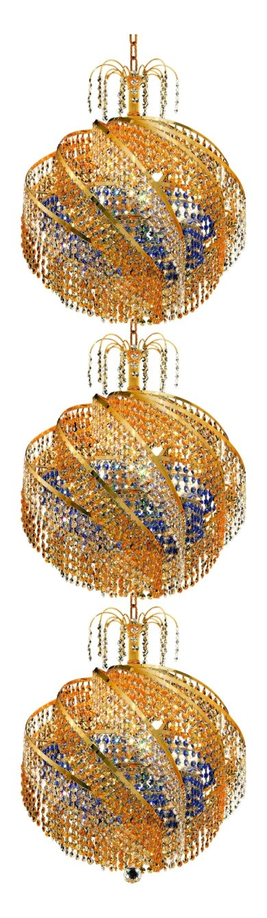 "Spiral Collection 30-Light 22"" Gold Chandelier with  Swarovski Strass Crystal 8053G22G/SS"