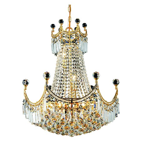 "Corona Collection 9-Light 20"" Gold Chandelier with Clear  Swarovski Strass Crystal 8949D20G/SS"
