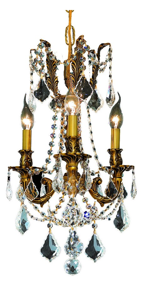 "Rosalia Collection 3-Light 13"" French Gold Mini Chandelier with Clear Elegant Cut Crystal 9203D13FG/EC"
