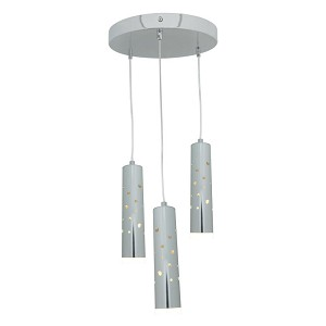 Access Three Light Acr  Glass Ch  Drum Shade Pendant - 70049LED-CH/ACR