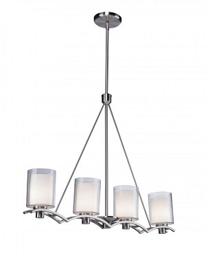 Artcraft Four Light Polished Nickel Interior-frosted, Outer-clear Glass Island Light - AC1134PN
