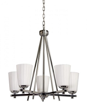 Artcraft Five Light Chrome Satin Acid Frosted Reeded Glass Up Chandelier - AC1275CH