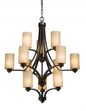 Artcraft Twelve Light Oiled Bronze Opal White Glass Candle Chandelier - AC1312OB