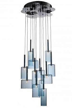 Artcraft Twelve Light Blue Glass Multi Light Pendant - AC1342BL
