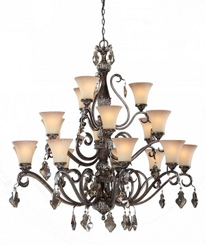 Artcraft Eighteen Light Multi-tone Bronze Caspitan Type Amber Glass Up Chandelier - AC1461