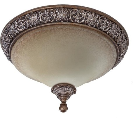 Artcraft Three Light Multi-tone Bronze Caspitan Type Amber Glass Bowl Flush Mount - AC1463