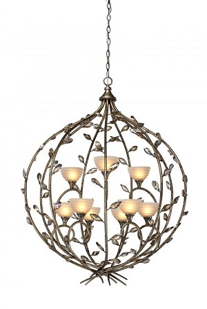 Artcraft Nine Light Amber Glass Bronzed Gold Up Chandelier - AC1519